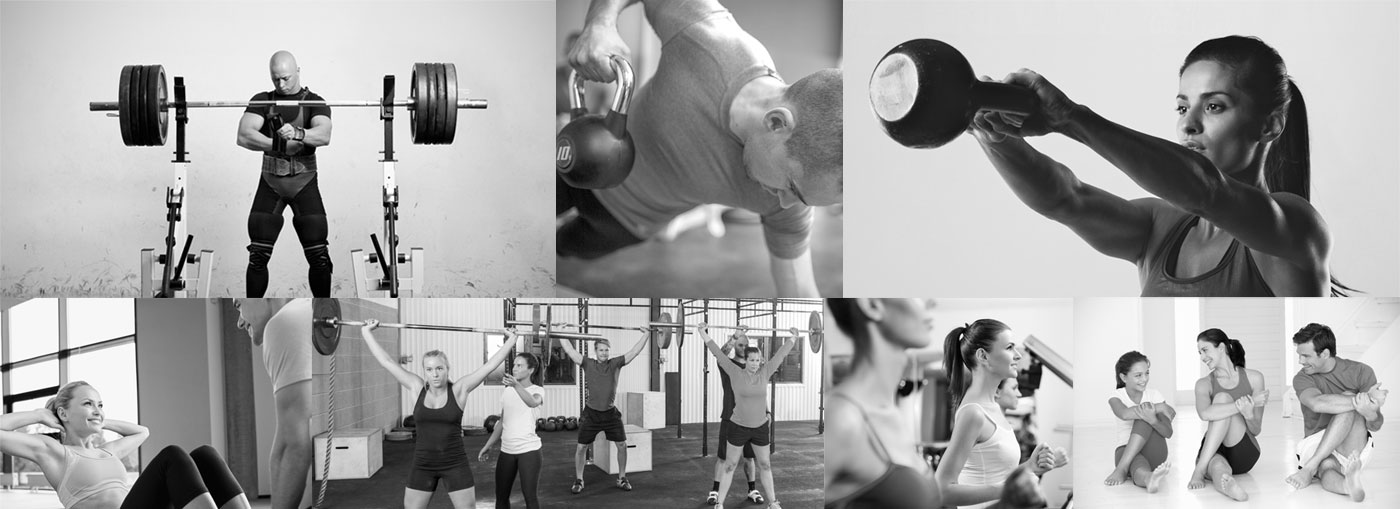 Fitness Club Activities: weight lifting, Kettlebell, stretching, calisthenics